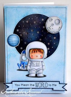 Handmade card - My Favorite Things Space Explorer Boy Cards, Kids Cards, Cute Cards, Scrapbook Cards, Scrapbooking, Karten Diy, Lawn Fawn Stamps, Kids Birthday Cards, Mft Stamps