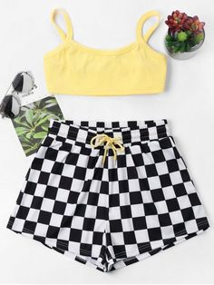 Checkered Cami Shorts Set - YELLOW M    USE this discount code:pinszf