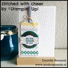 Stitched with Cheer - Softly Falling embossing folder - Thick Whisper White & Emerald Envy - Emerald Envy, Crushed Curry, Smoky Slate & Basic Gray ink - Metallic Doily, Smoky Slate stitched ribbon & Crushed Curry baker's twine