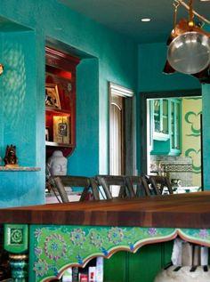 Wandfarbe pfannen küchen schiene Türkis wandgestaltung klassisch orientalisch