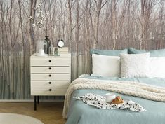 A beautiful bedroom with a wall mural of a forest as an accent and a bed with mint color bedding looking soft and cozy. Image by Pixers. Mint Wallpaper, Photo Wallpaper, Beach Bedding Sets, Winter Bedroom, King Sheets, Bed Sheets, Comfy Sofa, Bedroom Photos, Living Room Green