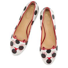 Women's Charlotte Olympia Polka Dot Kitty Flat (1.915 BRL) ❤ liked on Polyvore featuring shoes, flats, polka dot, black and white shoes, flat pumps, black and white flats, black white shoes and black and white polka dot shoes