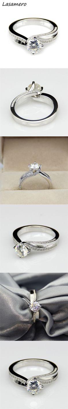 LASAMERO 1CT Moissanites Lab Grown Diamond Split Shanks Ring 9k White Gold Engagement Wedding Rings Fine Moissanites Ring #finerings
