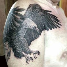 Greyish Bald Eagle Tattoo Guys Arms