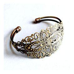 Antikolt bronz színű, hosszú filigrán díszes karperec alap NIKKELMENTES - Egyéb alkatrész - Csinálj Ékszert! webáruház
