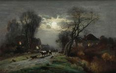 Ferdinand De Prins~ Village street with cowherd at moonlight
