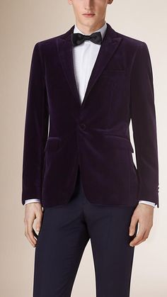 Burberry velvet tuxedo jacket tailored for a slim fit. The jacket has a part-canvas construction. With a layer of natural horsehair at the chest, the canvassing moulds to the cut of the jacket, creating a light handle and a clean silhouette. Discover men's tailoring at Burberry.com