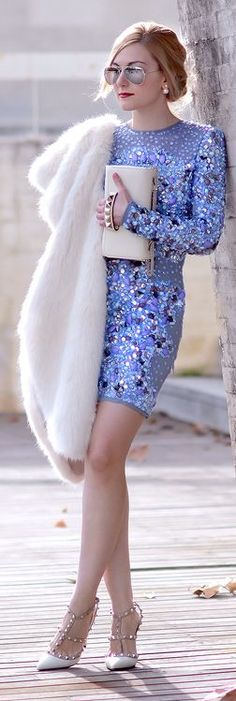 Blue Multi Jewel Embellished Little Dress by Oh My Vogue