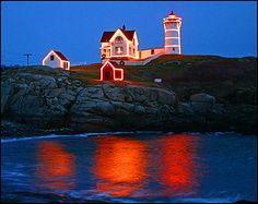 Nubble Lighthouse lighted for Christmas