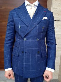 p a t t e r n : Looking for an alternative to the traditional three piece suit? Add a little bit of style with this beautiful navy windowpane check suit www.groomsmagazine.wordpress.com