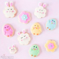 Ostern Platzchen Verziert-Sweet chick and bunny cookies for Easter, decorated with homemade marshmallow fo. Kawaii Cookies, Cute Cookies, Cupcake Cookies, Sugar Cookies, Fondant Cookies, Easter Cookie Recipes, Easter Cookies, Easter Treats, Easter Food