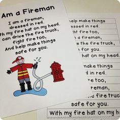 I Am A Fireman Poem Community Helpers Firemen Teaching Themes, Teaching Social Studies, Student Teaching, Preschool Poems, Preschool Lessons, Kids Poems, Preschool Class, Kindergarten, Teachers