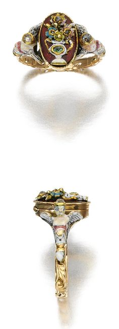 ENAMEL, EMERALD AND DIAMOND RING, LATE 18TH CENTURY.
