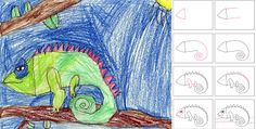 this little guy goes great with our enVision math...how to draw a chameleon