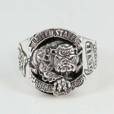 MANSONDAVID Biker Rings 925 Sterling Silver USA Marine Corps Bull Dog  #MANSONDAVID #Military