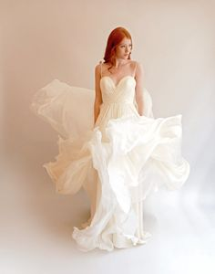 Items similar to Feather Light Silk Wedding Gown with Embellished Bodice--Lea--Blush or Ivory on Etsy Classic Wedding Gowns, Wedding Styles, Leanne Marshall Wedding Dresses, Wedding Dressses, Designer Wedding Dresses, Bridal Gowns, One Shoulder Wedding Dress, Marie