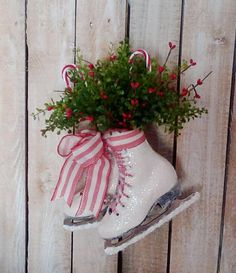 Christmas Ice Skates Holiday Decoration Door wreath Wall