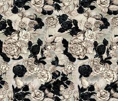 Sketched Flowers  fabric by teja_jamilla on Spoonflower - custom fabric