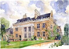 Watercolour of Skeffington Hall South Elevation www.nickhirst.co.uk