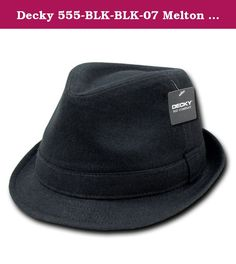 Decky 555-BLK-BLK-07 Melton Fedora Hat, Black & Black - Large & Extra Large. This Melton Fedora hat features a 1 inch satin band around the crown. The hat has a 4 inch high crown and a 1 5/8 inch brim. It is simply a great travel hat for the businessman.