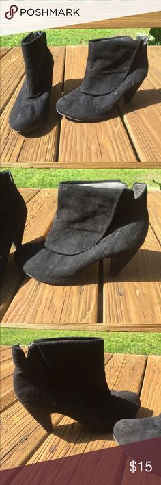 Black Faux Suede Booties Ankle booties, black Faux Suede with cute fold over detail, small heel Shoes Ankle Boots & Booties