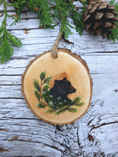 Black Bear: Rustic Tree Ornament by AliceCEades on Etsy