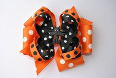 Halloween Hair bow, Girls Scary Cat, Orange and Black Hair bow