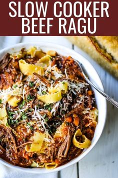 The ultimate comfort food! A big bowl of slow cooked, braised beef in a rich, robust tomato sauce tossed with pasta. I guarantee that you will go back for seconds! Beef Ragu Slow Cooker, Slow Cooker Recipes, Beef Recipes, Italian Recipes, Italian Beef, French Recipes, Lidia Bastianich, Slow Cooking, Braised Beef