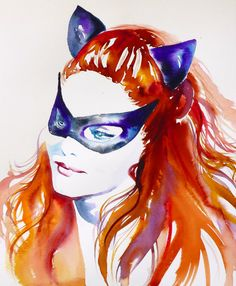 Cat Woman Julie Newmar Art Print Original Watercolor Painting 1960s Fashion Home Decor 60s Batman TV Show Catwoman