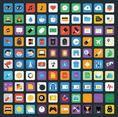 Stylicons is a set of 100 coloured icons and comes as an organised PSD and AI master file, along with separate EPS, SVG, and PNG's in three handy sizes. Flat Design Icons, Icon Design, Brand Design, App Design, Free Web Design, Best Icons, Ui Elements, Apps, Tutorials