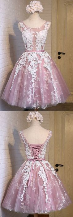 Short Prom Dresses Lace, Pink Cocktail Dresses A-line, Knee-length Prom Dresses For Teens, Sweet Homecoming Party Dresses Cheap