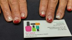 Red and white mylar gel nails, go badgers