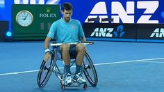 Novak Djokovic tried playing wheelchair tennis at a charity event in Melbourne, Australia on Wednesday, playing against two-time paralympic gold medallist Dylan Alcott.