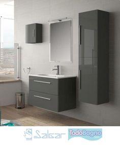 Mueble baño Salgar Creta Bathroom Sink Design, Condo Bathroom, Bathroom Mirror Cabinet, Small Bathroom Vanities, Bathroom Design Luxury, Bathroom Toilets, Bathroom Layout, Bathroom Storage, Contemporary Bathroom Designs