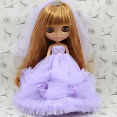 """Takara 12"""" Blythe Doll Outfits purple wedding dress 2 pieces in Dolls & Bears, Dolls, By Brand, Company, Character 