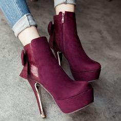 Shoespie Nubuck Bow-Back Platform Ankle Boots