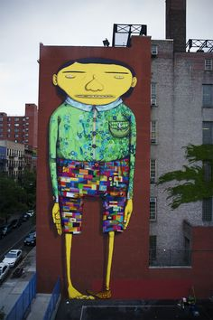 Brazilian artists Otavio and Gustavo Pandolfo (aka 'Os Gemeos') and graffiti artist Futura have just completed an 80-feet-high mural at William T. Harris elementary school, in the Chelsea neighborhood of New York City.