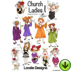 Church Ladies 1 Embroidery Design Collection | DOWNLOAD