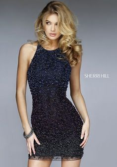 This Blue form fitted crystal ombré dress will wow any crowd! For Sherri Hill