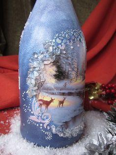 Купить Новогоднее шампанское - шампанское на Новый Год, новогоднее шампанское, новогодний подарок, Декупаж