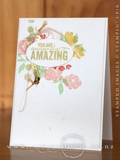 """For the new Around the World Challenge, I created this """"Amazing"""" card using Painted Petals from the Occasions Catalogue.  I couldn't stop at the three challenge colours (Crisp Cantaloupe, So Saffron and Very Vanilla), I also used Pistachio Pudding and Calypso Coral to create a stamped bouquet.  www.creativestamping.co.nz 