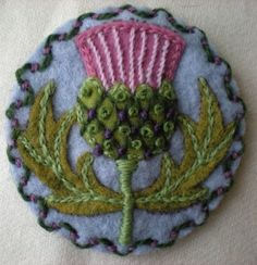 Thistle embroidery brooch
