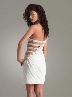 Vestido De Cóctel Blanco de Gasa de Vaina de Corto/Mini de Solo Hombro Con Strass