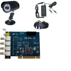 """GudCraft CCTV 1 Camera DVR Video Surveillance Security System by GudCraft. $129.00. This is a very easy to use PC-based security system. All you need to do is to insert the DVR card in a free PCI slot of your computer. After you installing the drivers & software for the card and connecting the cameras with DVR card, you can run a full function video security system. Video Surveillance Security System has one 1/4"""", 24 pcs LED Night View Waterproof """"SHARP"""" CCD color cameras."""