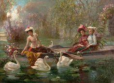 Zatzka, Hans (b,1859)- Women Feeding Swans, II