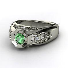 Men's Round Emerald Platinum Ring with Diamond | Octagon Ring | Gemvara