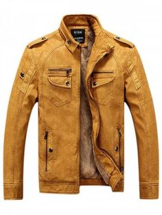5615568a7f513 Men s Europe and Ameriaca Slim Plus Velvet Short Locomotive Leather  Clothing Fur Jacket - BEE YELLOW