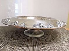 "Antique Compote Bowl Silver Plate Repousse Grapes 12"" Dia.  