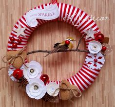 Christmas Winter Red White Yarn Felt Wreath with White Roses and Gingerbread - https://www.facebook.com/Luksdecor
