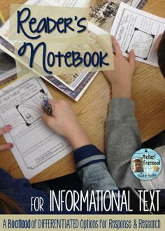 Reader's Notebook for Informational Text. Lots of options. Lots of differentiation. Gr 1-7 ($)